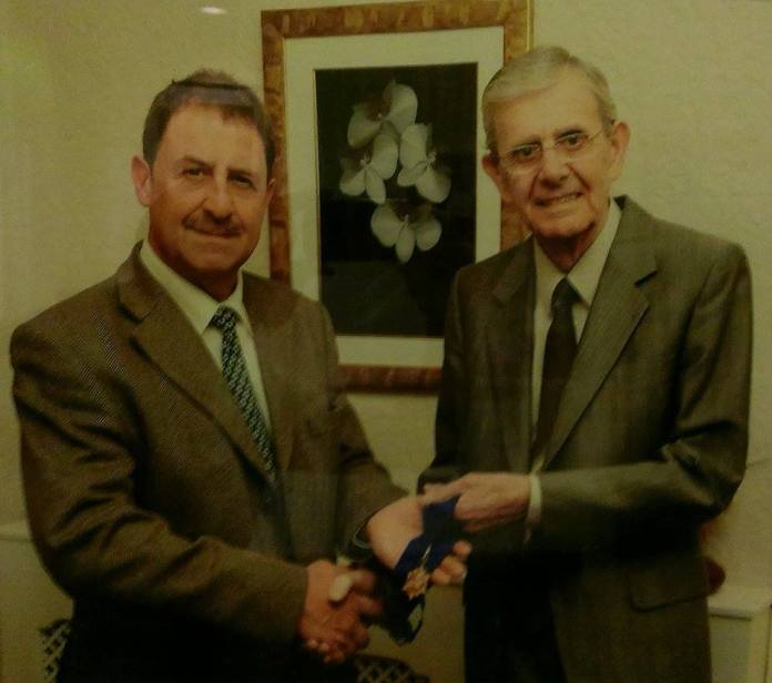 The Association of Conservative Clubs Medal of Honour presented to Bill Jones by Chairman Mark Hilton 23 March 2011 for 42 years service to the club and committee